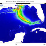 Maximum wave radiation stress gradients during Katrina (2005) in the Gulf of Mexico.