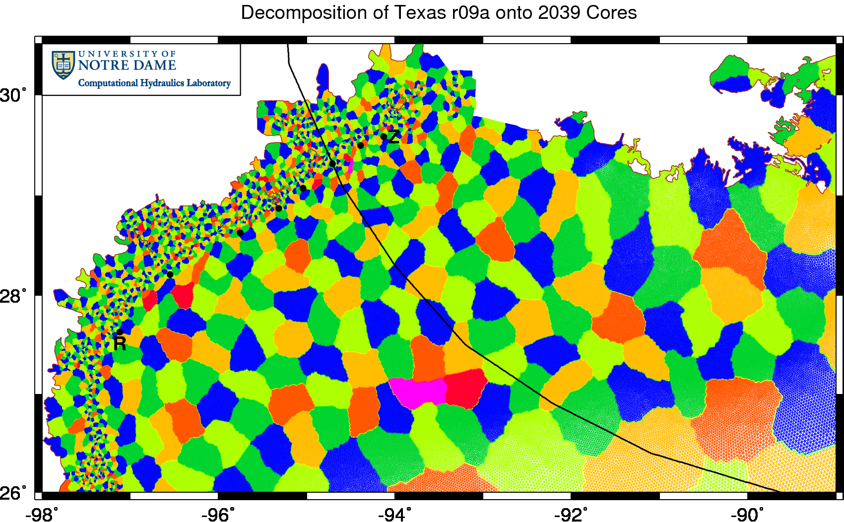 Example decomposition of the TX2008r09a mesh onto 2039 cores.