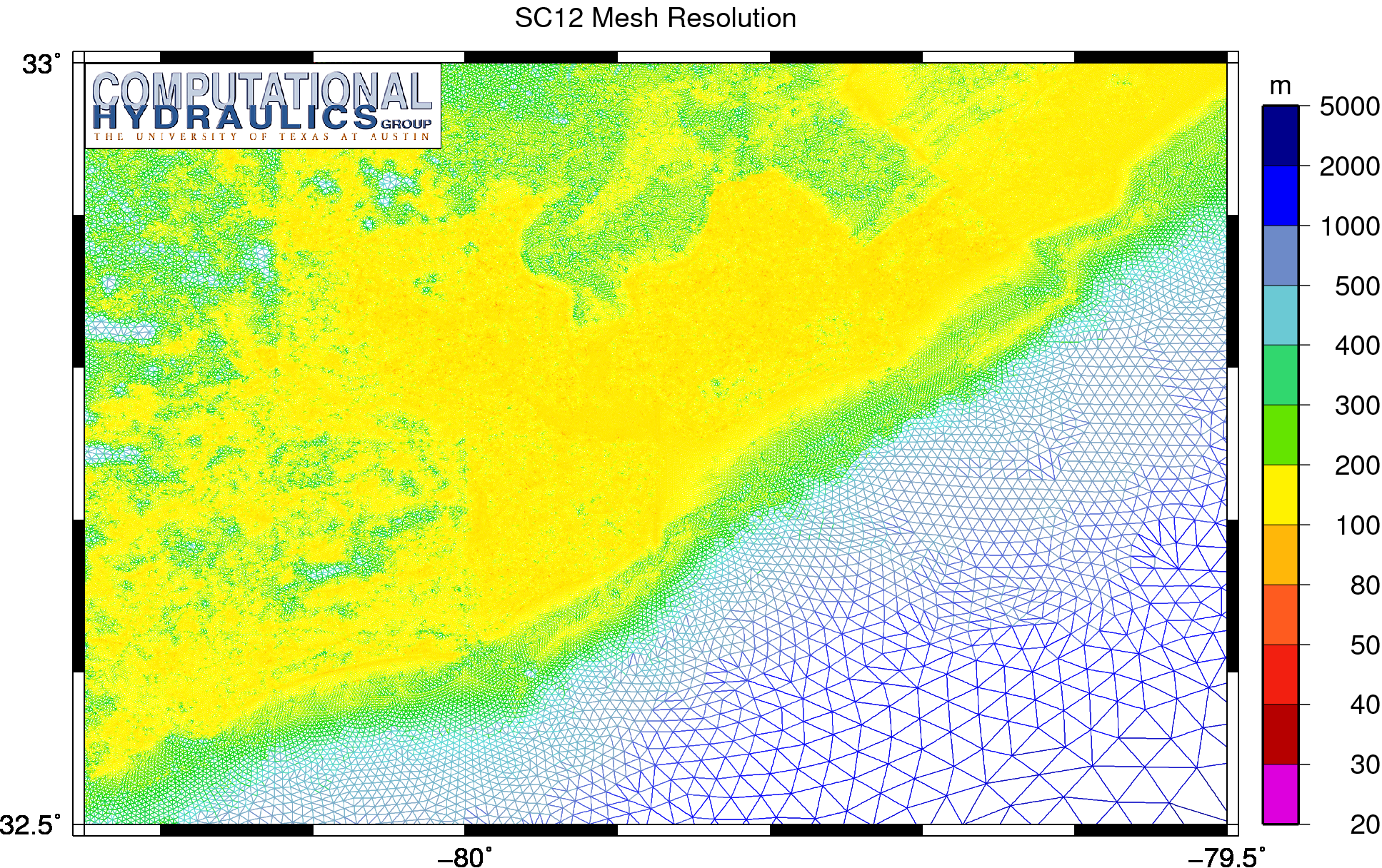 Unstructured mesh resolution (m) on the SC12 mesh in the region near Charleston, South Carolina.