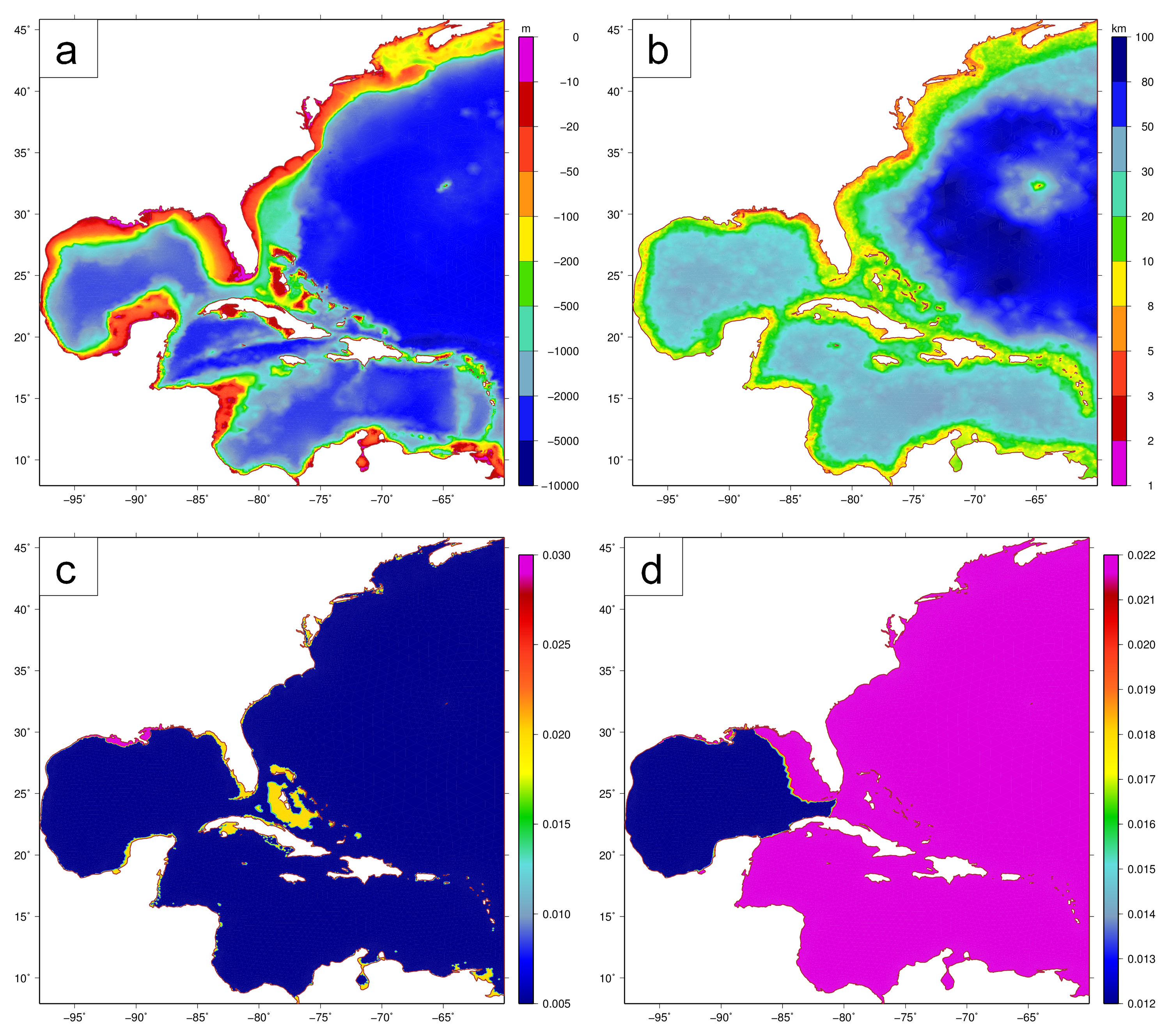 Figure 1: Panels of EC95d mesh (a) bathymetry (m) and (b) spacings (km), and vertex-based attributes of (c) primitive weighting in the GWCE and (d) Manning's n values.
