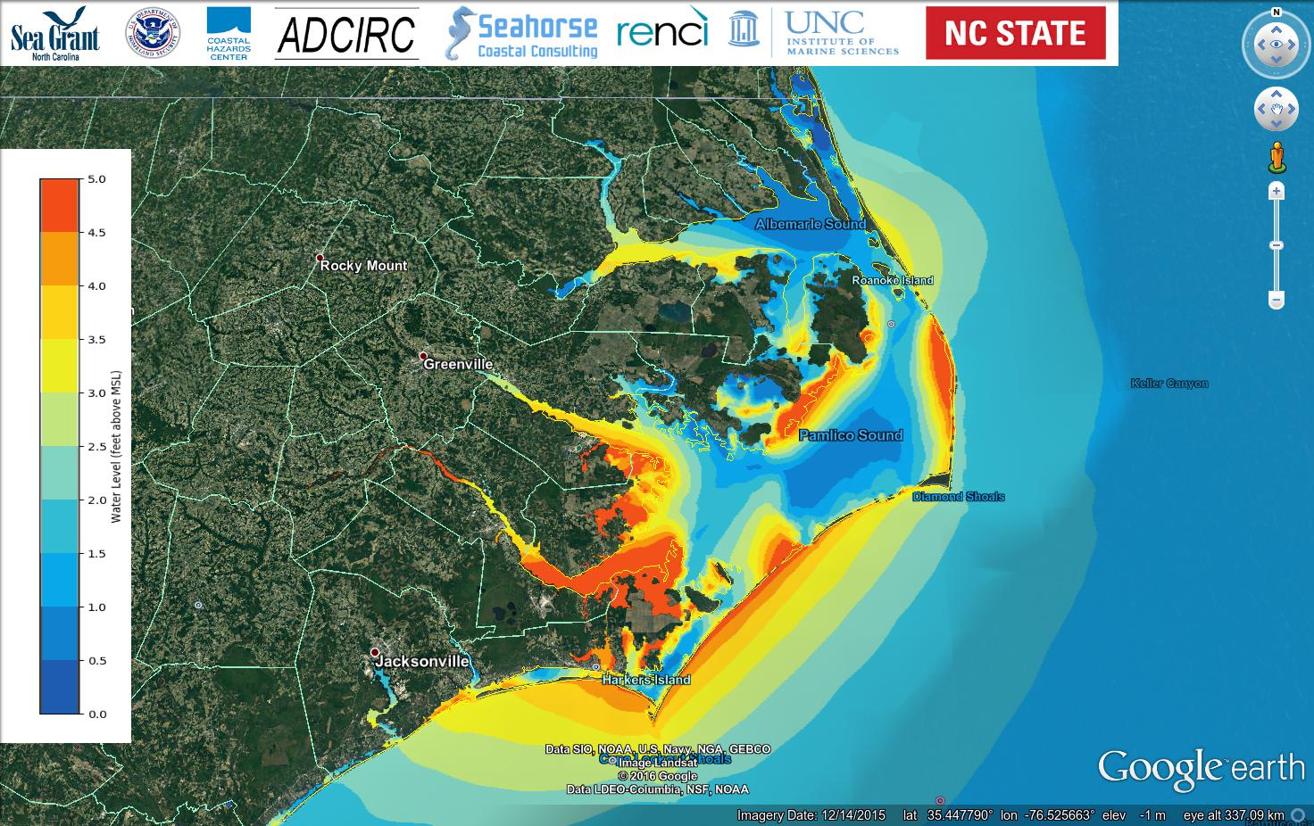 Example 1a: Maximum water levels (feet) during Hurricane Arthur (2014) advisory 12, visualized in Google Earth.