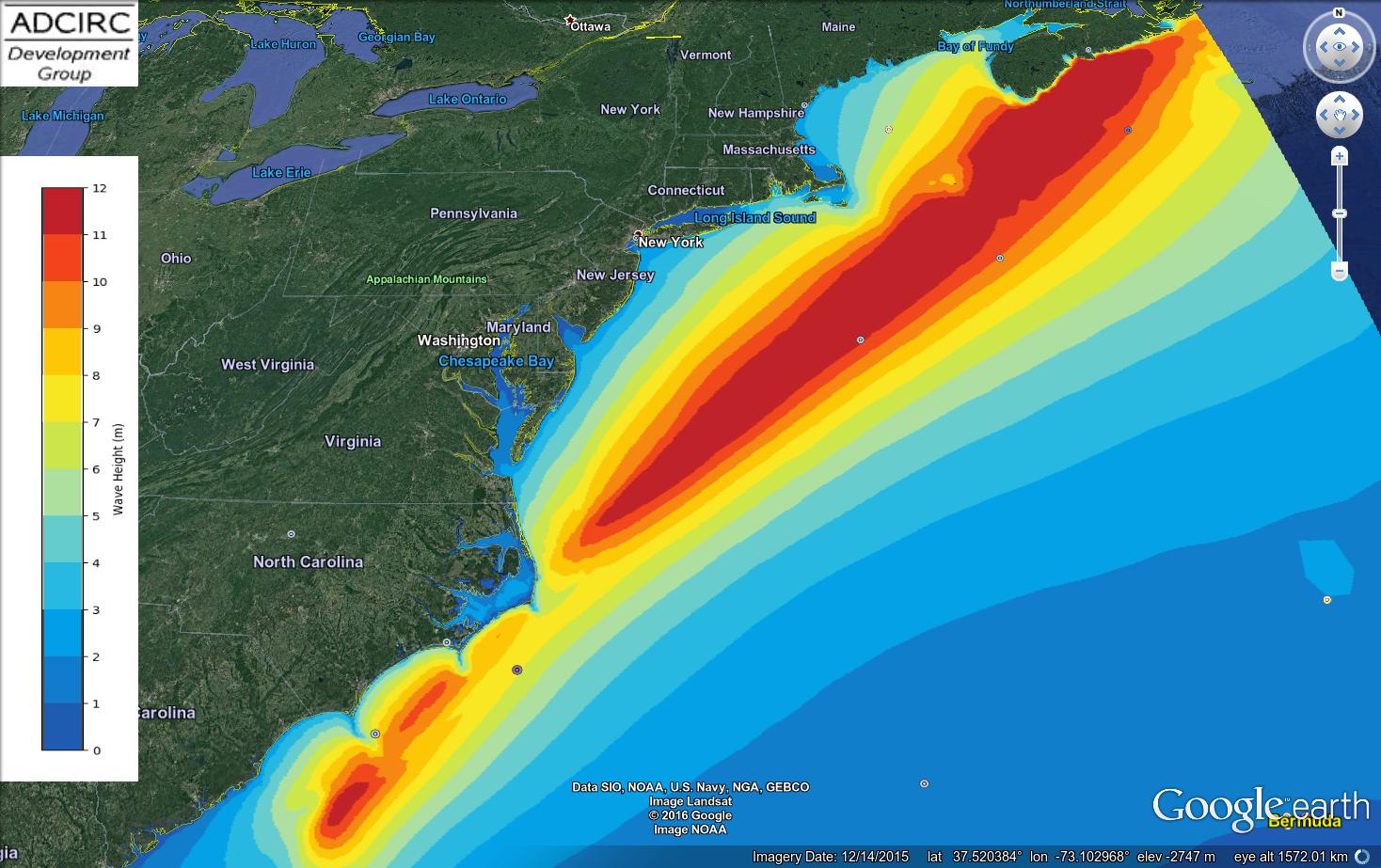 Example 3a: Maximum significant wave heights (m) during Hurricane Arthur (2014) advisory 12, as visualized in Google Earth.