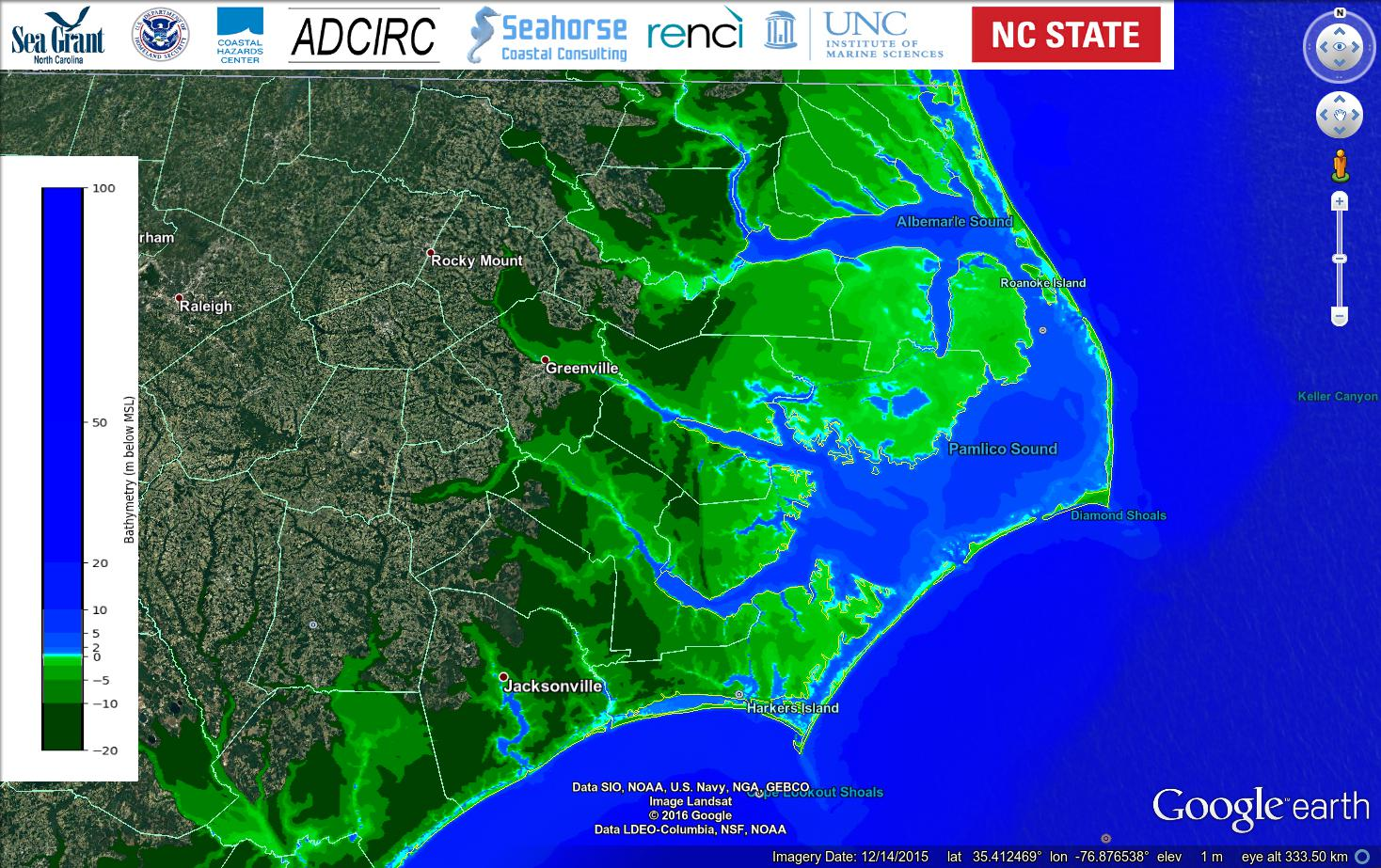 Example 11: Bathymetry and topography (m) for the high-resolution mesh describing the North Carolina coast.