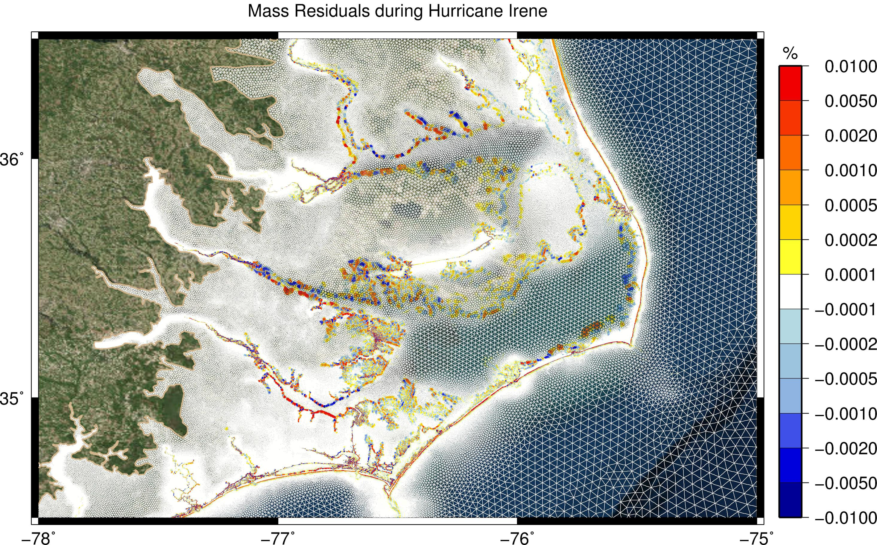 Mass residuals (as percentage of still-water volume) during Hurricane Irene (2011).