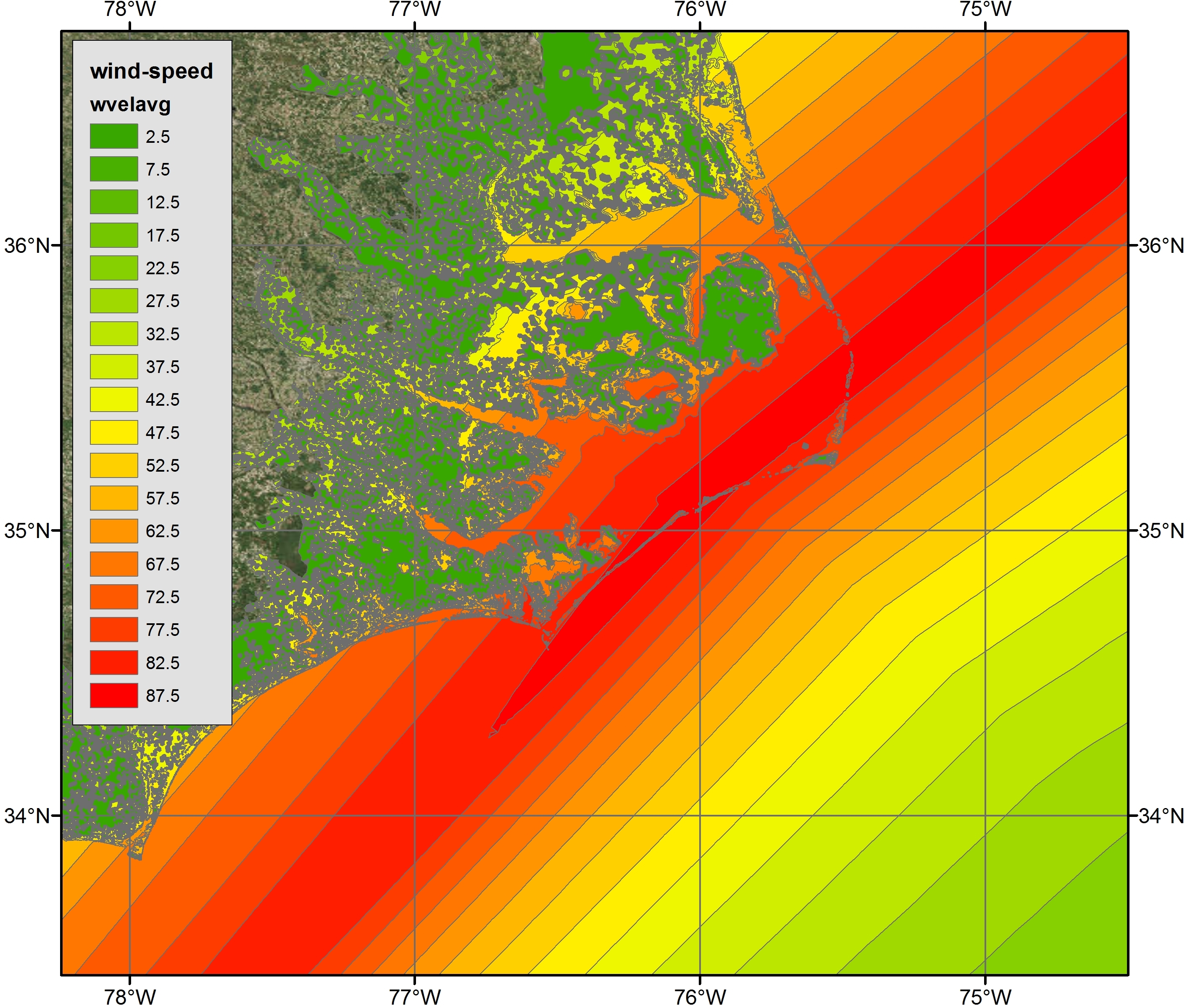 Example 2b: Maximum Wind Speeds along the NC coast during Hurricane Arthur Advisory 12 visualized via polygon shapefiles with ArcGIS satellite imagery
