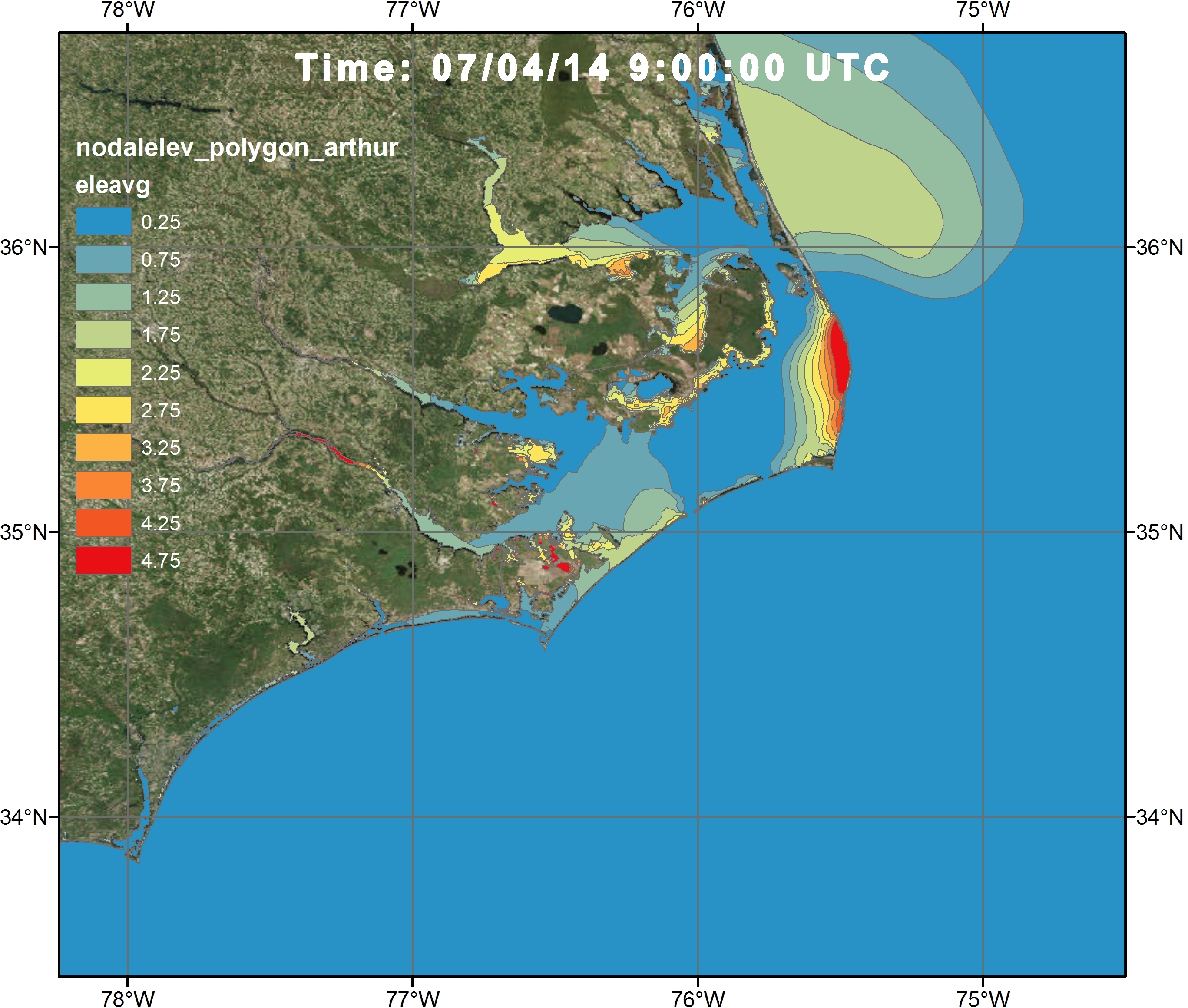 Example 1d: Visualization of the water levels during Hurricane Arthur Advisory 12 along the NC coast at 07/04/14 0900 UTC via a time varying shapefile with ArcGIS satellite Imagery