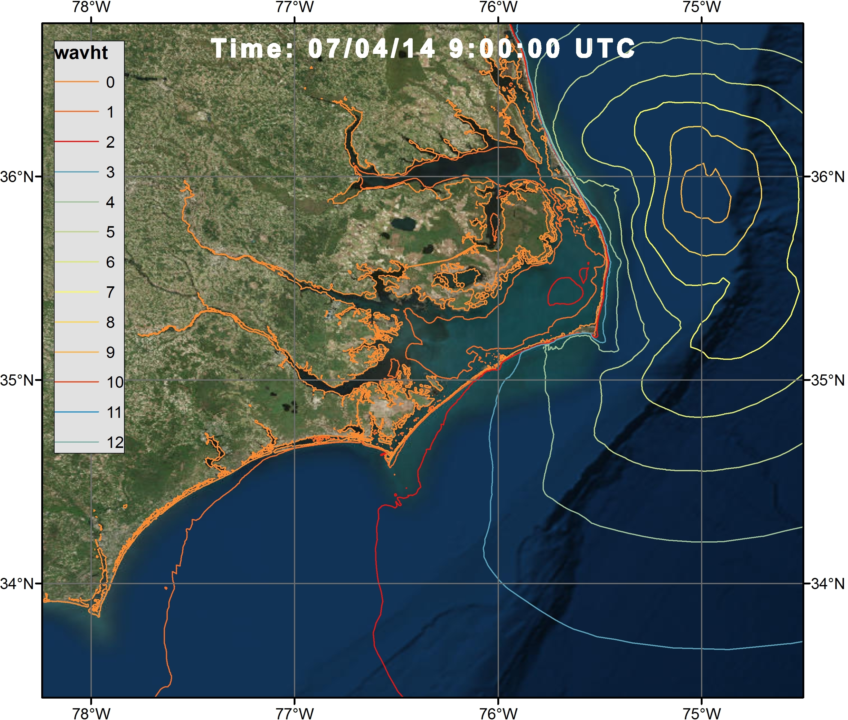 Example 3c Visualization of the significant wave heights during Hurricane Arthur Advisory 12 along the NC coast at 07/04/14 0900 UTC via a time varying polyline shapefile with ArcGIS satellite Imagery