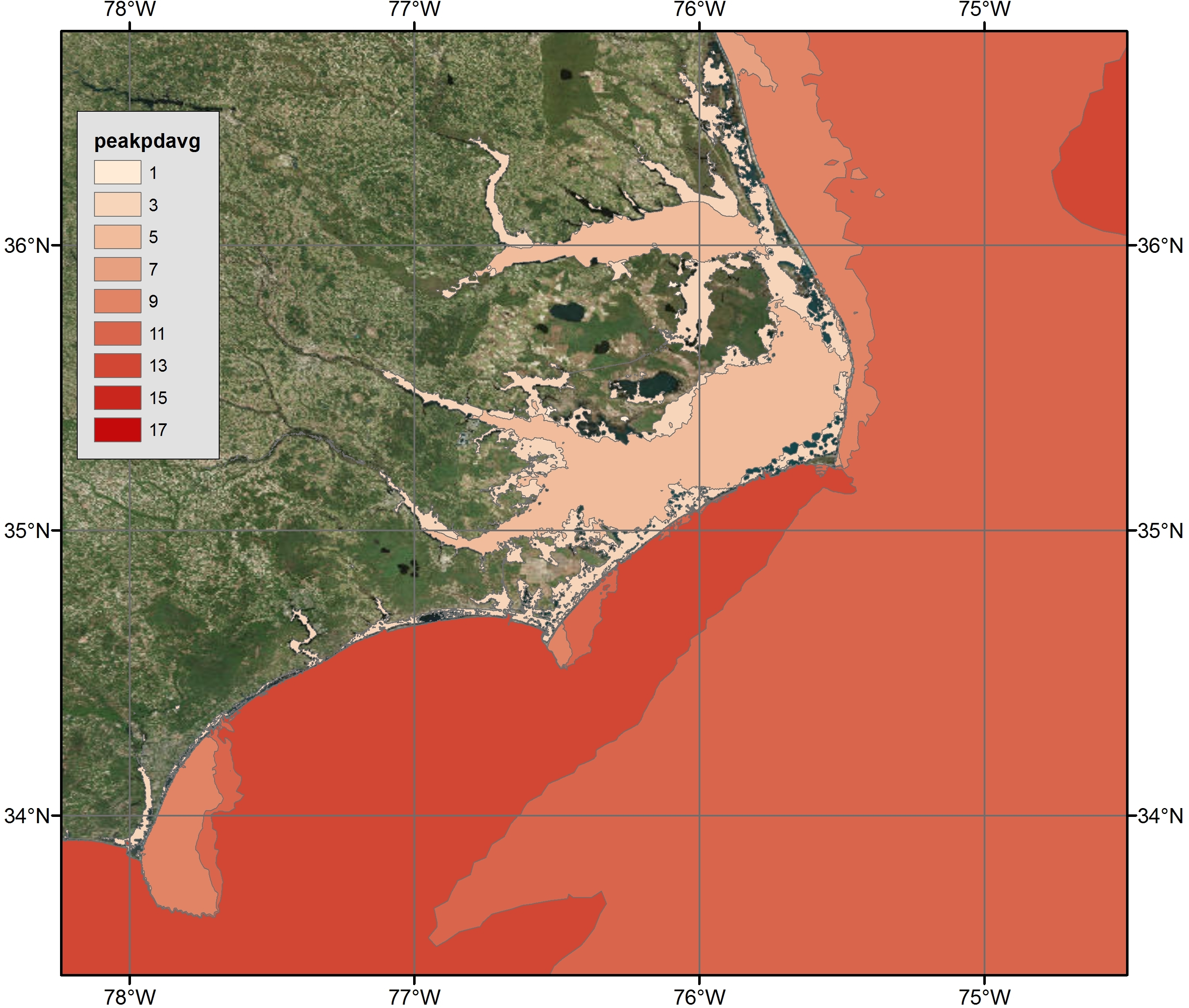 Example 4b: Maximum Peak Wave Periods (s) along the NC coast during Hurricane Arthur Advisory 12 visualized via polygon shapefiles with ArcGIS satellite imagery
