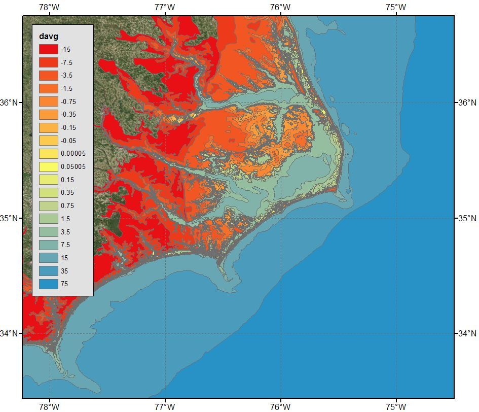 Example 5b: Bathymetry and topography (m) for the high-resolution mesh describing the North Carolina coast visualized using polygon shapefiles with ArcGIS satellite imagery.